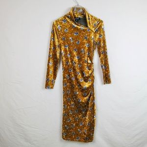 Wild meadows yellow velvet floral dress